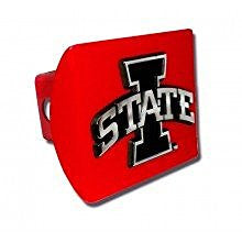 "Iowa State Cyclones ""Red with Chrome I STATE Emblem"" Trailer Hitch Cover Fits 2 Inch Auto Car Truck Receiver with NCAA College Sports Logo"