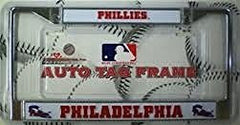 Philadelphia Phillies Chrome License Plate Frame with Bell Logo W/ Word Mark Logo