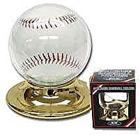 2 Round Plastic Baseball Holder with Gold Base (Ball Protection) - 2 HOLDERS