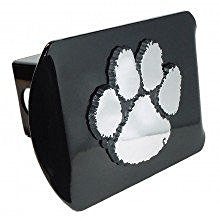 "Clemson University Tigers ""Black with Chrome Paw Emblem"" NCAA College Sports Trailer Hitch Cover Fits 2 Inch Auto Car Truck Receiver"