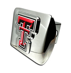 "Texas Tech Red Raiders ""Bright Polished Chrome with Color ""TT"" Emblem"" NCAA College Sports Trailer Hitch Cover Fits 2 Inch Auto Car Truck Receiver"