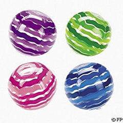 12 Inflatable Striped Beach Balls ~ Size 9""