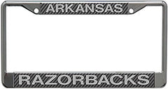 Arkansas Razorbacks Metal License Plate Frame with Carbon Fiber Design
