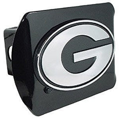"University of Georgia Bulldogs ""Black with Chrome G Emblem"" NCAA College Sports Metal Trailer Hitch 2 Inch Auto Car Truck Receiver Cover"