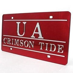 "Alabama Inlaid Acrylic License Plate - ""ua Crimson Tide"" Red"