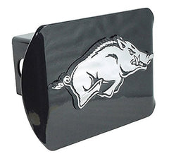 "University of Arkansas Razorbacks ""Black with Chrome Running Hog Emblem"" NCAA College Sports Metal Trailer Hitch Cover Fits 2 Inch Auto Car Truck Receiver"