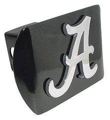 "University of Alabama Crimson Tide Black with Chrome Plated Metal ""A"" NCAA College Sports Trailer Hitch Cover Fits 2 Inch Auto Car Truck Receiver"