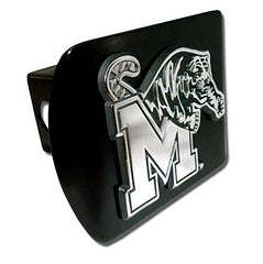 "University of Memphis Tigers ""Black with Chrome ""M-Tiger"" Emblem"" NCAA College Sports Metal Trailer Metal Hitch Cover Fits 2 Inch Auto Car Truck Receiver"