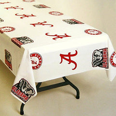 "NCAA Alabama Crimson Tide White Team Logo 54"" x 108"" Plastic Tablecover"