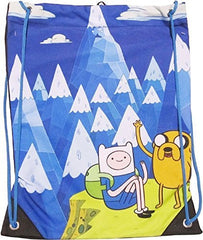 "Bioworld Adventure Time Mountain Cinch Bag 13"", Blue/White"