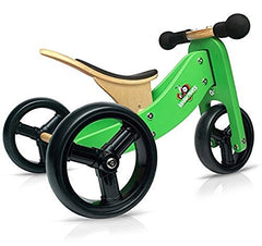 Kinderfeets Tiny Tot 2-in-1 Wooden Balance Bike and Tricycle with Adjustable Cushion Seat
