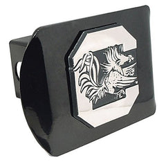 "South Carolina Gamecocks Black Metal Trailer Hitch Cover with Chrome Metal Logo (For 2"" Receivers)"