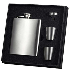 Visol 8 Oz Satin Finish Liquor Flask Gift Set - 2 Shot Cups and Funnel