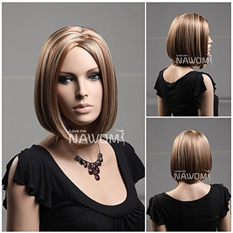 (WG-ZL971-19H30H613)Short Straight Hair Wig,flaxen color.