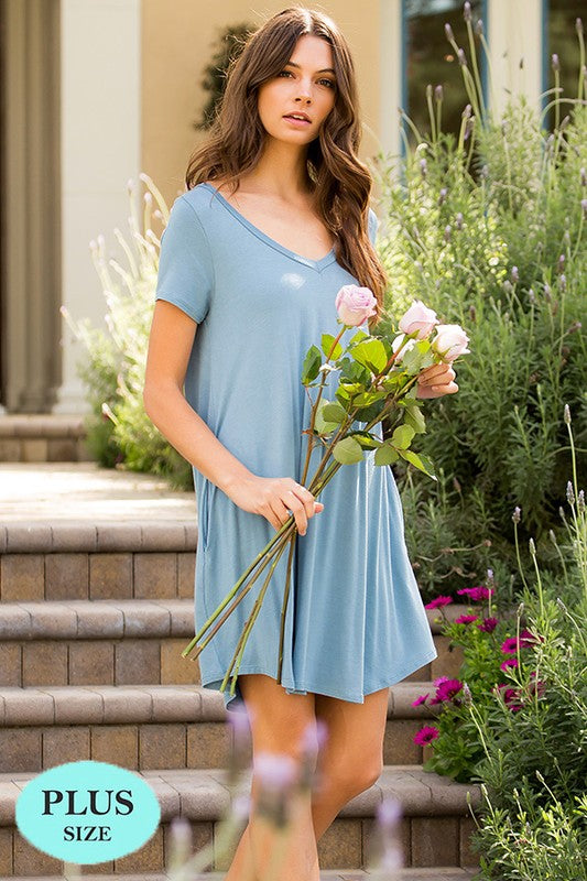 Breezy V-Neck Tee Dress