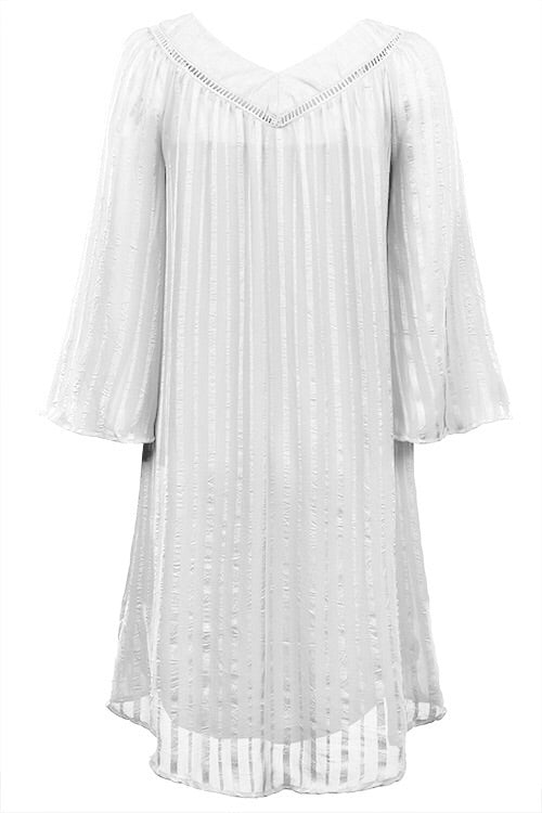 Off White Crinkle Chiffon and Satin Striped, Wide V-neck
