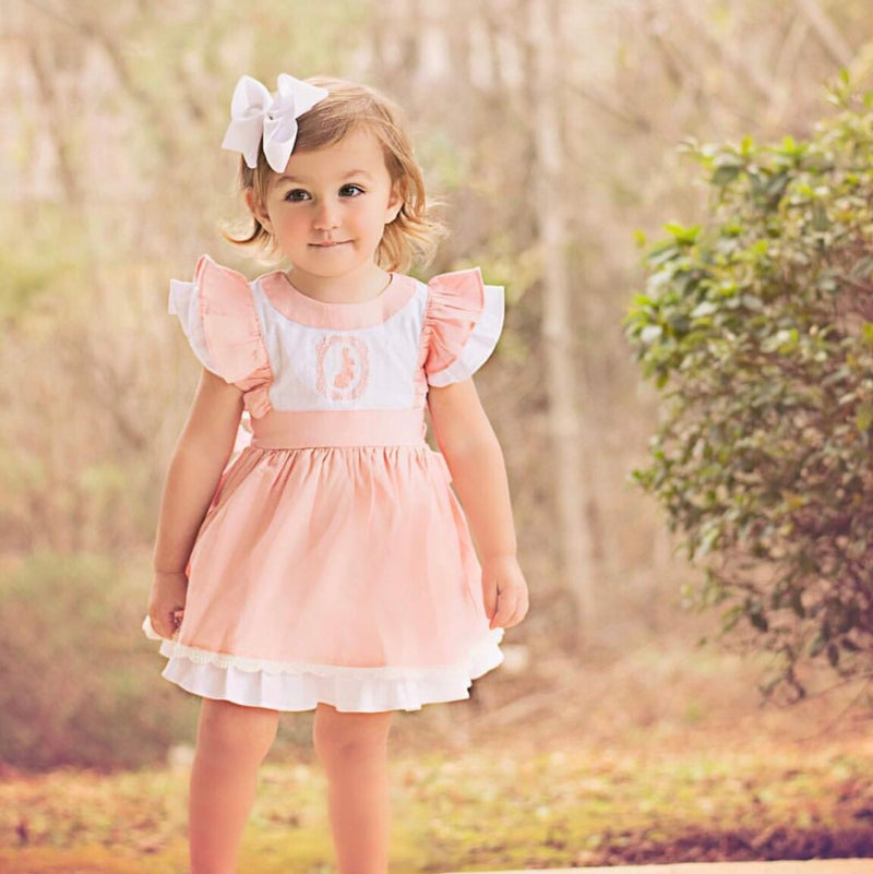 Girls Bunny Pinafore Dress