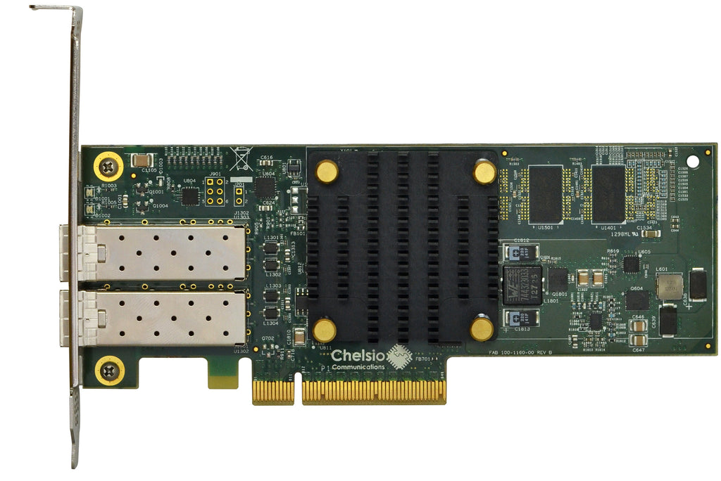 T520-LL-CR: 2-port Low Latency Low Profile 1/10GbE Unified Wire Adapter with PCIe 3.0 x8 Interface, 32K connections, SFP+ connector