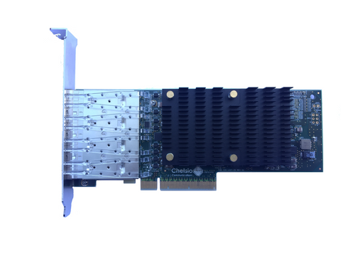 T540-LP-CR: 4-port low profile 1/10 GbE Unified Wire Adapter with PCI-E x8 Gen3, 32Kconn,  SFP+ Connector
