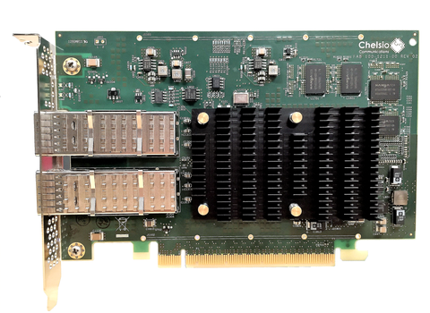 T62100-CR: 2-port Half Size 40/50/100GbE Unified Wire, Enhanced TOE & iSCSI Adapter with PCIe 3.0 x16 Interface, 32K connections, QSFP28 connector