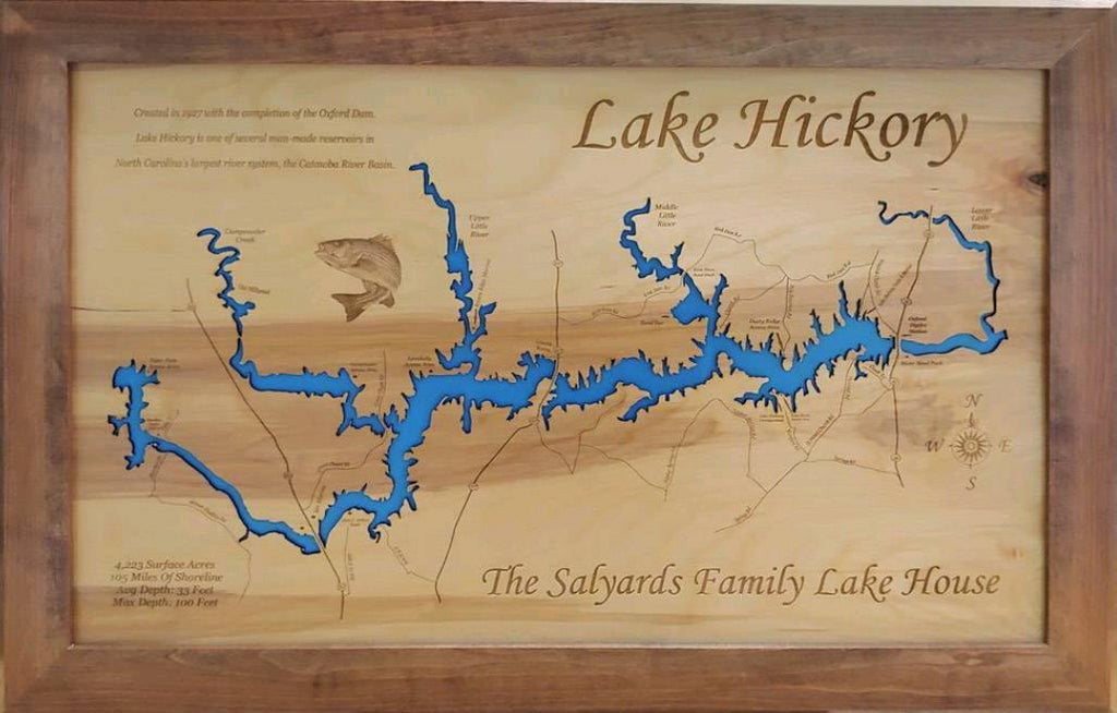 Lake Hickory, NC - Laser Cut Wood Map