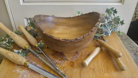 Hand Turned Yellow Camphor Decorative Bowl with Live Edge