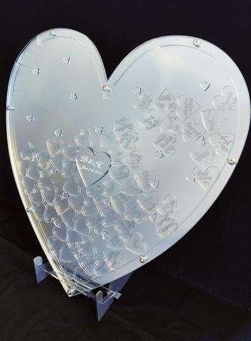 Mirrored Heart Drop Guest Book