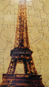 Custom Eiffel Tower Forever Tree Wood Puzzle Guest Book Alternative