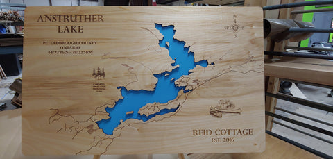Anstruther Lake, Ontario, Canada - Wood Laser Cut Map