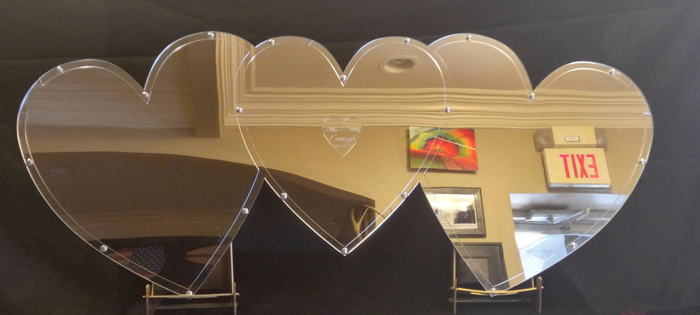 Mirrored Triple Heart Drop Guest Book