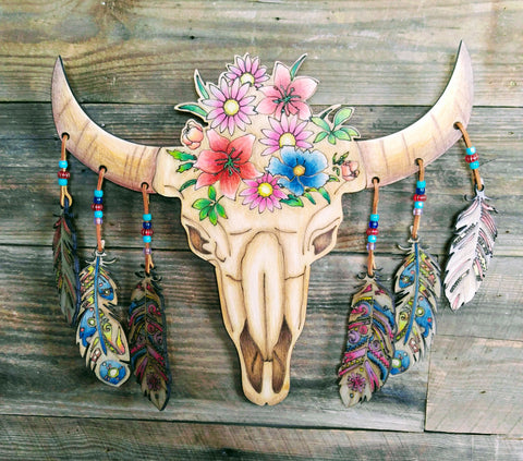 Earnhardt Collection - Adult Coloring - Wood Bull Skull
