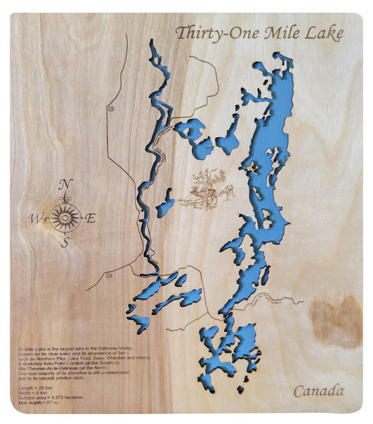 31 Mile Lake, Canada - Laser Cut Wood Map - Personal Handcrafted Displays