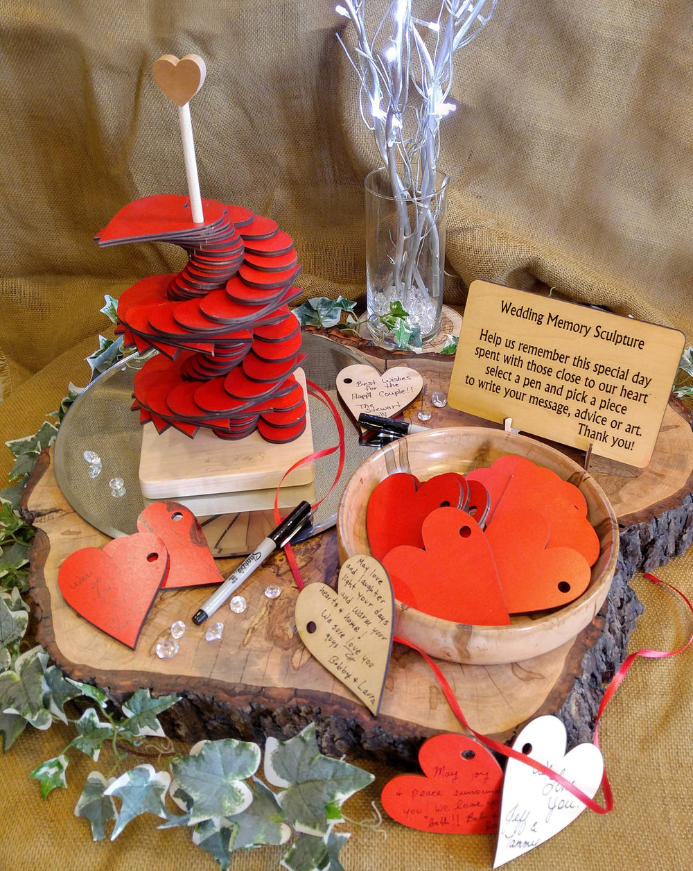 Red Hearts Memory Sculpture
