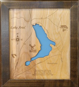 Lake Ariel, PA - Laser Cut Wood Map