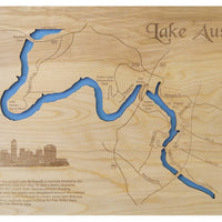 Lake Austin, Texas - Laser Cut Wood Map