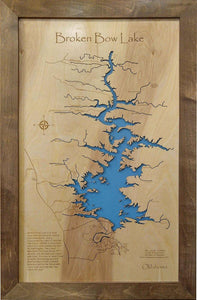 Broken Bow Lake, Oklahoma - Laser Cut Wood Map - Personal Handcrafted Displays