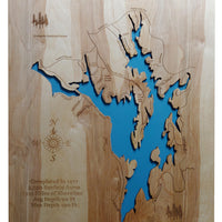 Badin Lake, NC - Laser Cut Wood Map - Personal Handcrafted Displays