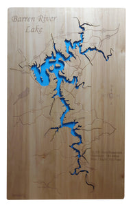 Barren River Lake, Kentucky - Laser Cut Wood Map