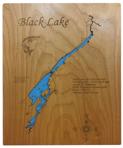 Black Lake, NY - Laser Cut Wood Map - Personal Handcrafted Displays