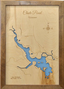 Chute Pond, Wisconsin - Laser Cut Wood Map