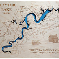Claytor Lake, Virginia - Laser Cut Wood Map