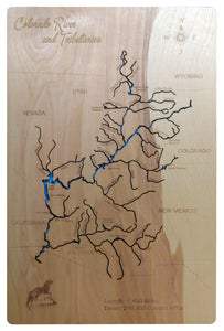 Colorado River and its Tributaries - Laser Cut Wood Map