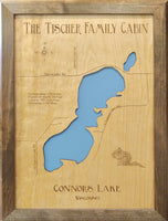 Connors Lake, Wisconsin - Burnett County - Laser Cut Wood Map