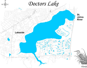 Doctors Lake, Florida - Laser Cut Wood Map