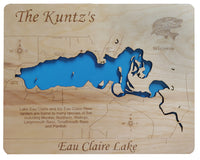 Lake Eau Claire, Wisconsin - Laser Cut Wood Map