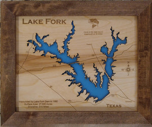 Lake Fork, Texas - Laser Cut Wood Map