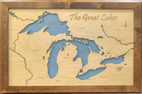The Great Lakes - Laser Cut Wood Map