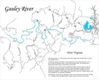 Gauley River, West Virginia - Laser Cut Wood Map