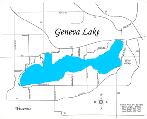 Geneva Lake, Wisconsin - Laser Cut Wood Map