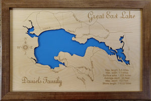 Great East Lake in Maine and New Hampshire - Laser Cut Wood Map